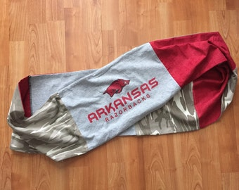 One of a Kind Upcycled University of Arkansas Razorbacks Infinity Scarf - Made from TShirts