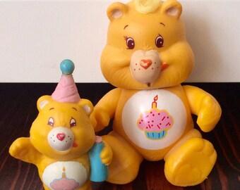 1983-84 Care Bears Birthday Bear Poseable and PVC Figure, Care Bears, Birthday Bear, Vintage Care Bears, Poseable Care Bears, PVC Care Bears