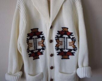 VINTAGE cowl navajo cardigan sweater