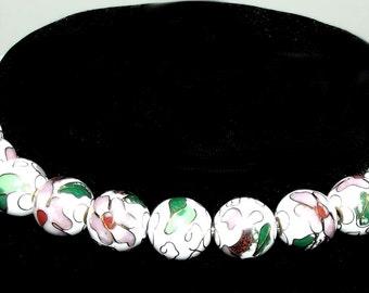 Craft supplies ~ 18 gold pink green CLOISONNE round beads flower 20mm enamel  ~ US seller