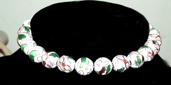 Craft supplies ~ 18 gold pink green CLOISONNE round beads flower 20mm enamel  ~ US seller