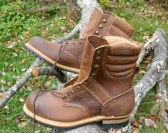 "1990's Carolina 8"" Logger Boots / Stock # 224 / ANSI Certified Safety Toe / Made in U.S.A. / US Men: 11 D / Deadstock Condition"