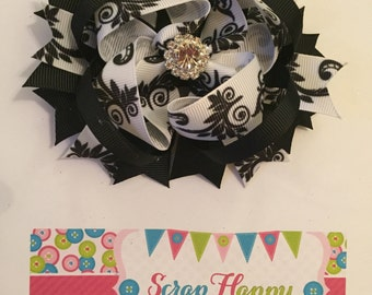 Black and White Damask Over the Top Hair Bow