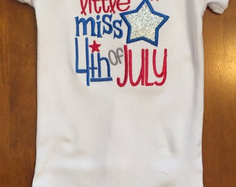 Little Miss 4th of July Shirt or Baby Bodysuit