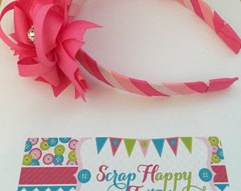 Pink 3-in-1 bow headband