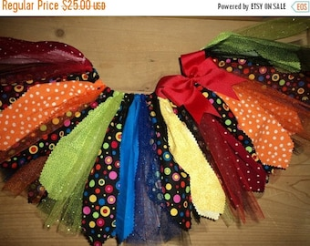 ON SALE Rainbow Polka Dot Scrap Fabric Tutu