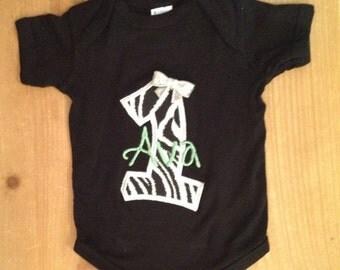 ON SALE Zebra Birthday Shirt or Baby Bodysuit