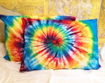Tie Dye Pillowcases Set of 2 Rainbow Pillowcases - Standard Size - NEW 100% Cotton - Rainbow Tie Dye Bedding Pillow Covers 220T Percale SOFT