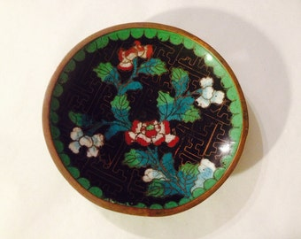 Vintage Metal Cloisonne Enamel Dish Made in China