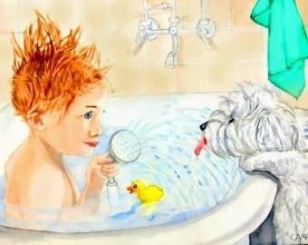 Bathroom Art Print as ACEO, Print or Blank Greeeting Card from Original Watercolor