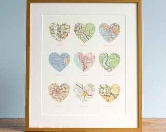 9 Heart Map Print, Wedding Gift Art, Custom Heart Map, Anniversary Gift, 9 maps, Wedding Map Art, Engagement Gift Art