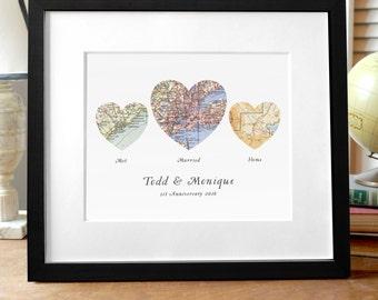 wedding gift map etsy
