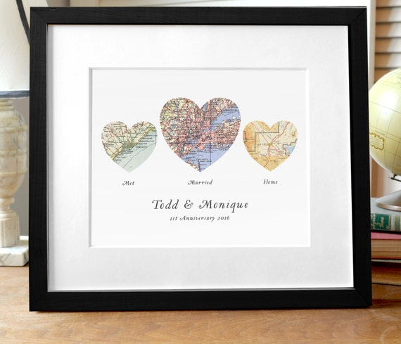 , Wedding or Engagement Gift, Three Map Heart, Custom Wedding Gift ...