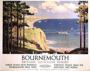 Vintage British Rail Bournemouth All Season Resort Railway Poster A3/A2 Print