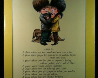 Vintage Fran Mar Moppets Plaque, Home Is Love, 1970s, Moppets Wall Plaque, Retro 70s, Wall Hanging, Wall Decor, Moppet Art