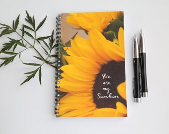 Sunflower journal, Blank Paper Notebook, Flowers journal, Sketch book, You are my sunshine journal, Summer gift, Gifts for her, Floral gift