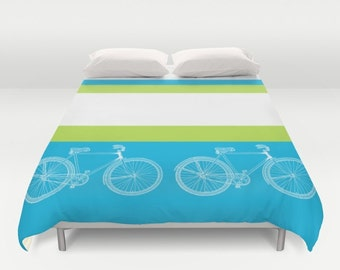 """Bicycle Duvet Cover or comforter  - """"Ride With Me"""" design, bedroom linens,Turquoise, lime green, bold stripe, clean, apartment, dorm decor"""