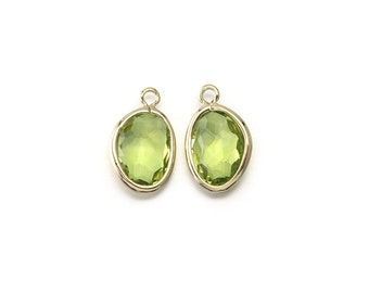 Apple Green Glass Pendant . Wedding, Bridal Jewelry Supplies . Polished Gold Plated over Brass  / 2 Pcs - CG051-PG-AG