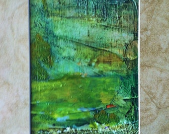 Abstract Acrylic Art Painting  Textured, Green, Gold, Blue, Red,  Mixed Media Home Decor