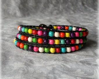 Rainbow Wrap Bracelet - Rainbow stone beads and black leather