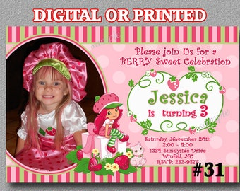 Strawberry Shortcake Invitation with Photo YOU Print Digital File or PRINTED Birthday Party Invitation