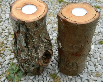 Pair of Log Pillar Tea Light Candles