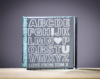 Valentines Gift Glass Block Personalised Gift I Love You Gift, Love Gift,