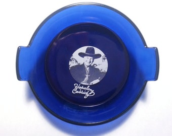"""5"""" Hopalong Cassidy Cobalt Blue Glass Coin / Candy Dish"""