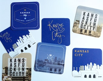 Kansas City Coasters // 4x4 Rounded Square Paper Coasters // Party Coasters, KC Decor, Kansas City Party Decor, KC Bar Decor