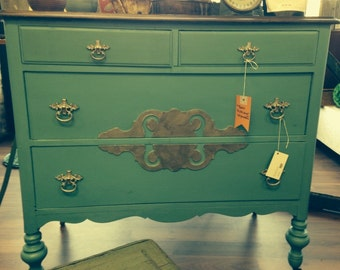 Painted aqua and silver dresser