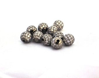 10 x 8mm Round Brass Micro Pave Cubic Zirconia Beads - Black