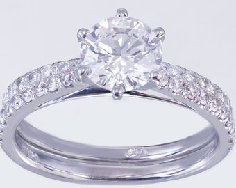 EGL USA G-SI1 14k White Gold Round Cut Diamond Engagement Ring And Band 1.45ct