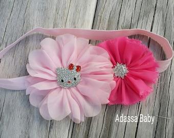 Hello Kitty Headband Hello Kitty Bow Toddler Headband Hello Kitty Birthday Headband Pink Newborn Headband