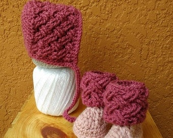 Raspberry Celtic Dream Baby Bonnet and Boot Set - Any Baby Size - Newborn Baby Bonnet and Boots - Newborn Gift - Newborn Photo Prop