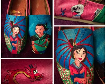 Custom painted Mulan Toms. Designed and personalized just for you!