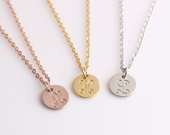 Minimal Letter Necklace - Round Discs Dinaty Monogram Pendant - Bridesmaid Gift Necklace