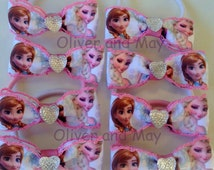 Bulk 15 Frozen Birthday Party Favor Hairbow Elastic Hair Ties Frozen Fever Frozen Sisters Brozen Birthday Frozen Party Favors