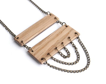 REVERSIBLE Long Rectangle Fringe Necklace - Walnut and Oak