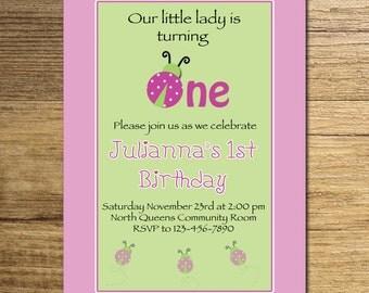 Lady bug Party Invitation/Pink and Green Ladybug Invite, Lady Bug Birthday Invitation/One Year Old Birthday Invite Printable File.