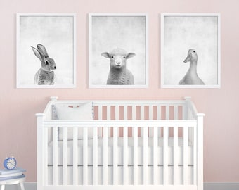Set of Three Baby Animal Prints Nursery Art Prints Black and White Art Bunny Print Lamb Duck Kids Room Decor Nursery Decor Baby Gift Ideas