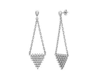 925 Sterling Silver Long Triangle Drop Earrings Dangle Pyramid Silver Earrings