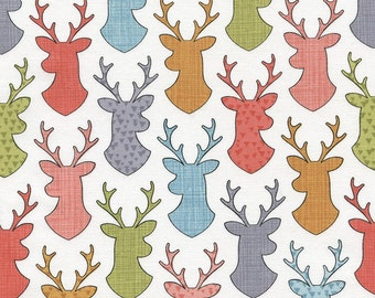 Walk in the Woods - Deer Head Silhouettes(White Background) - Timeless Treasures