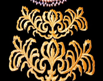 Embroidered Applique Gold Metallic Iron On Patch applique
