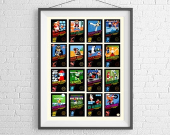 Nintendo 8-Bit Video Game Cover Poster - Collection of Vintage Video Games - NES 8 Bit Poster Wall Art