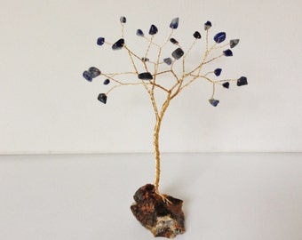 Sodalite and Jasper gemstone tree . Blue, brown an gold wire sculpture. Tree of life ornament
