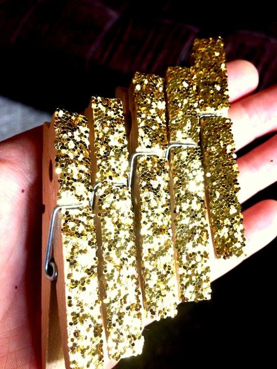 Gold glitter clothes pins clothespins gold office supplies