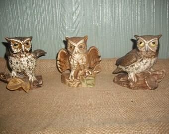 Trio of Homco Owls
