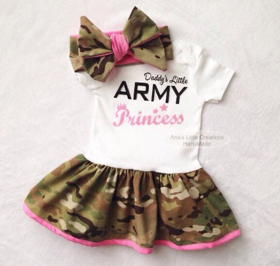 Daddy's Little Army Princess Multicam Body Suit Dress, Army Baby Dress Hot Pink Trim and Self Tied Headwrap/Headband Light Pink