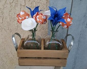Blue and Orange Flower Arrangement in a 2 vase carrier