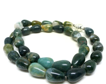 Water Drop Agate Green Stone Bead Necklace